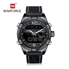 NAVIFORCE NF9128 Luxury Brand Watch Life Waterproof Quartz Wrist Watch Male Genuine Leather Watch LED Display Watch
