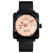 SKMEI Fashion Stainless Steel Quartz Men Watches 3ATM Water-resistant Casual Man Wristwatch Male Date