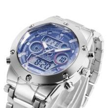 Dual Japanese Movement Analog Digital Display Multifunctional Time Date Day Alarm Chronograph Men
