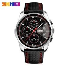 SKMEI New Men Sport Watch Leather Fashion Waterproof Date Luxury Business Man Chronograph Watch Black