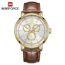 NAVIFORCE NF3002 Leather Watch Brand Quartz Watches Independent Hour Date Day Window Luminous Business Casual Wrist Watch