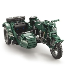 DOUBLE E C51021W 629 PCS Building Blocks World War II Military Motorcycle RC Toy