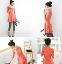 New Women Dress Long Sleeve Grinding Wool Soft Basic One-piece Dress Watermelon Red