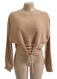 Sexy Off Shoulder Sweater Slash Neck Lace-Up Bandage Women's Pullover