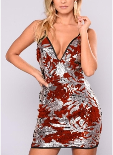 Sexy Women Sparkling Sequin Plunge V Neck Sleeveless Backless Bodycon Dress