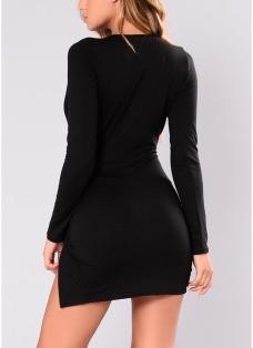Sexy Women Deep V-Neck  Knot Side Slit Mini Dress