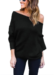 Women Loose Ribbed Off the Shoulder One Shoulder Asymmetric Round Neck Batwing Sleeve Casual T-shirt