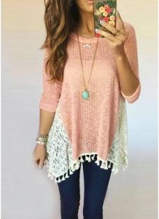 Causal Women Lace Splicing Tassel Fringe Detail O Neck Long Sleeves Irregular Hem T-Shirt