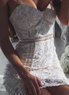 Sexy Women Lace Hollow Out Sleeveless Strappy Strap Elegant Mini Dress