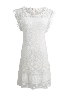 Summer Casual Lace Sleeveless Tassel Women's Shift Mini Dress