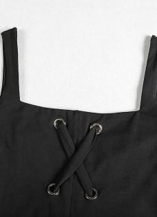 Sexy Bandage Spaghetti Strap  Lacing Hole Backless  Women's Bodycon  Dress