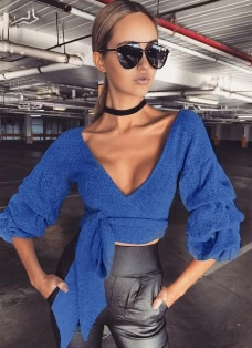 Ruffle Sleeve V Neck Cropped Sweater With Bowknot