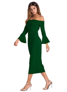 Sexy Off Shoulder Solid Flare Sleeves Party Club Midi Bodycon Dress