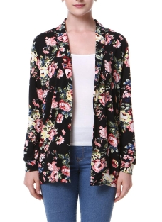 Fashion Floral Print Long Sleeve  Casual Jacket Printed  Coat