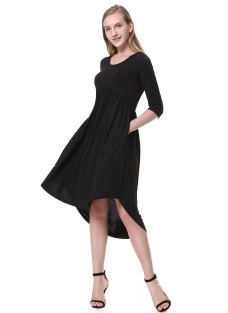 Round Neck Half Sleeve Side Pockets Solid Color Casual Dress