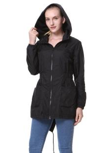 Winter Drawstring Hooded Windbreaker Zipper Pockets Slim Waist Loose Jacket