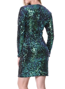 Mixfeer Sexy V-Neck Long Sleeve Bodycon Party Mini Dress