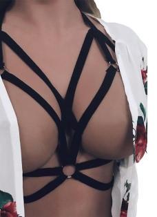 Sexy Halter Cross Elastic Strap Cupless Women's Intimate