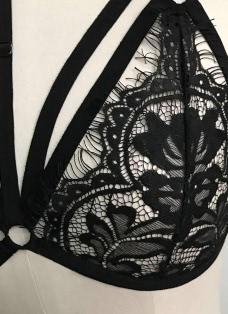 Sexy Eyelash Lace Caged Strappy Bra