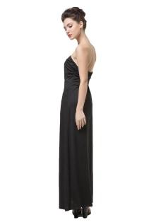 Fashion Women Strapless Neckline Ruched  Maxi Dress