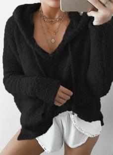 Women Warm Drawstring Hooded Sweatshirt Sweaters Faux Fur Outwear Hoodie Casual Overcoat