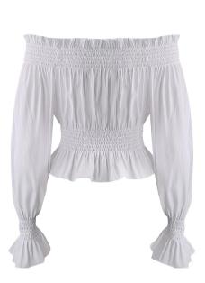 Sexy Women Off the Shoulder Ruffle Chiffon Crop Top Ruched Trim Lantern Sleeve Slim Casual Blouse