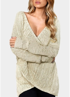 Sexy Women Knitted Sweater Cross Deep V Neck Long Sleeve Solid Loose Jumper Pullover Knitwear