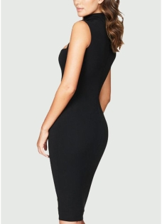 Sexy Solid Cut Out Front High Cowl Neck  Bandage Women's Bodycon Dress