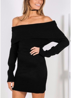 Winter Women Off the Shoulder Knitted Bodycon Dress