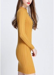 O-Neck Long Sleeves Stretchy Elegant Slim Women's Knitted Dress