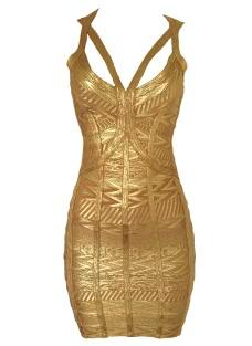 Gold Worshiper Bandage Dress