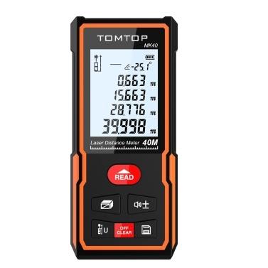 TOMTOP 40m Digital Laser Distance Meter Portable Area Volume Measurement Tool