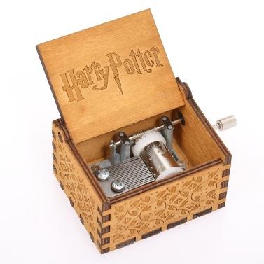 Caja de música de madera de la canción del tema de Harry Potter del vintage