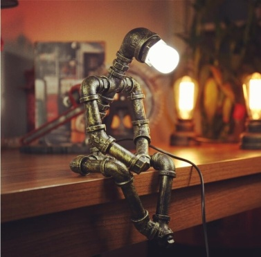 Creative Iron Pipe Industrial Loft Retro Style Coffee Bar Robot Water Pipe Table Lamp(without light bulb)