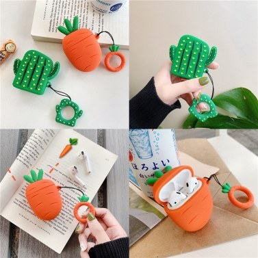 Creative airpods earphone sets for Apple wireless Bluetooth sleeve silicone cactus carrot female 2 [Cactus ‖ lanyard]