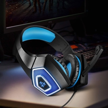 Cross-border explosion Hunterspider V-1 headset gaming headset RGB luminous wired computer PS4 headset Black and blue (ZXV80001)