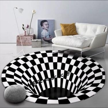 black and white circular carpet floor mat (Size 120*120)