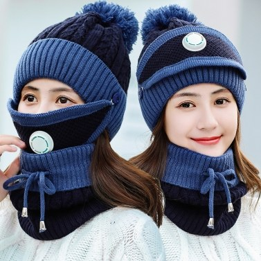 Factory wholesale three-piece winter hat plus velvet thickening cold-proof cycling wind-proof breath valve knitted hat women
