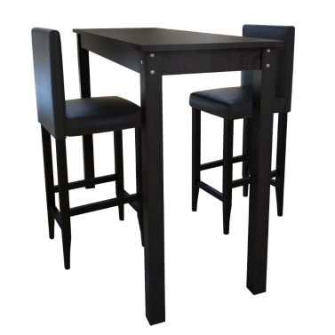 Table Set With 2 Blacks Stools