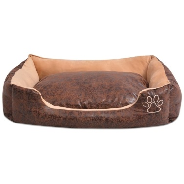 Dog bed with cushion PU synthetic leather size S Brown