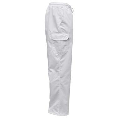 Chef Pants 2 Stück Dehnbarer Bund mit Cord Größe L Weiß