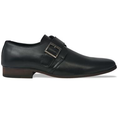 Herren Monk Strap Schuhe schwarz Größe 45 PU Leder