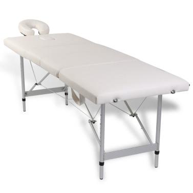 Massagetisch Mit Aluminiumrahmen, Faltbar 4 Zonen Creme Weiß