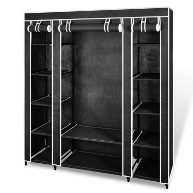 """Fabric Wardrobe with Compartments and Rods 17.7""""x59""""x69"""" Black"""