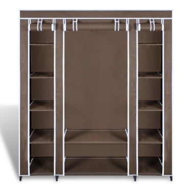 """Fabric Wardrobe with Compartments and Rods 17.7""""x59""""x69"""" Brown"""