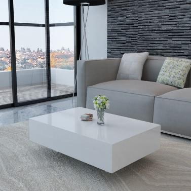 Weißer Hochglanz Wohnzimmertisch 85 cm