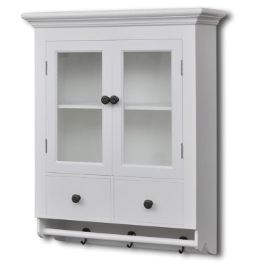 White Wooden Kitchen Wall Cabinet Glass Door