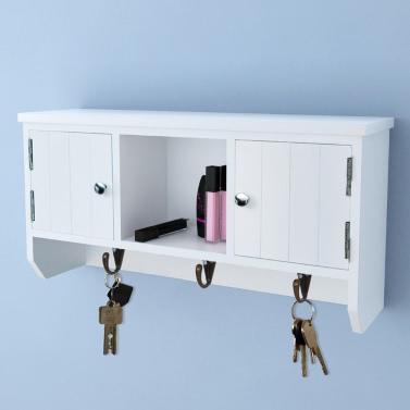 Wandschrank für Schlüssel und Schmuck mit Türen und Haken