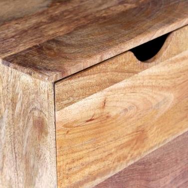 Side Table with Drawer Wheels Mango Wood 40x40x45 cm