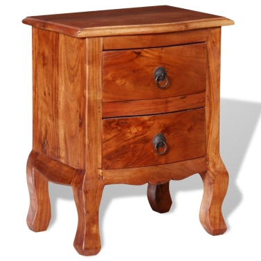 Nightstand with Drawers Solid Acacia Wood